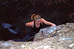 Heidi Rohwrer on 'Tritan' 25, Pacific Ocean boulder, Swinburne